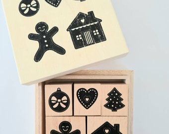 Stamp set Christmas 5 Christmas stamps in wooden box gingerbread