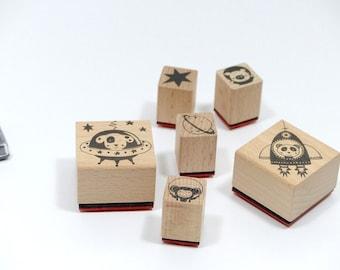 Timbre mettre les astronautes de timbres