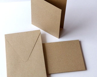 10 Rectangular Folding Cards and Envelopes Set Recycled Paper Kraft Paper