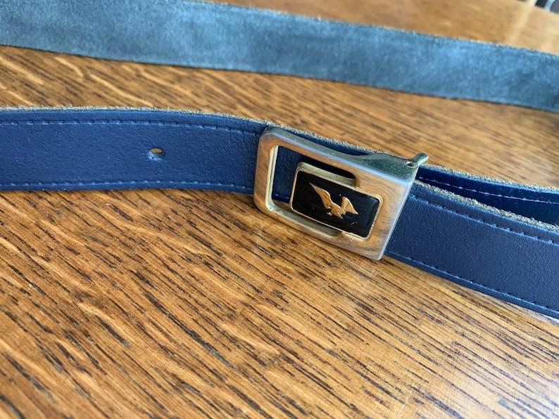Retro Accessories Vintage Gold Eagle Buckle Belt Retro Navy Blue Genuine Leather Belt