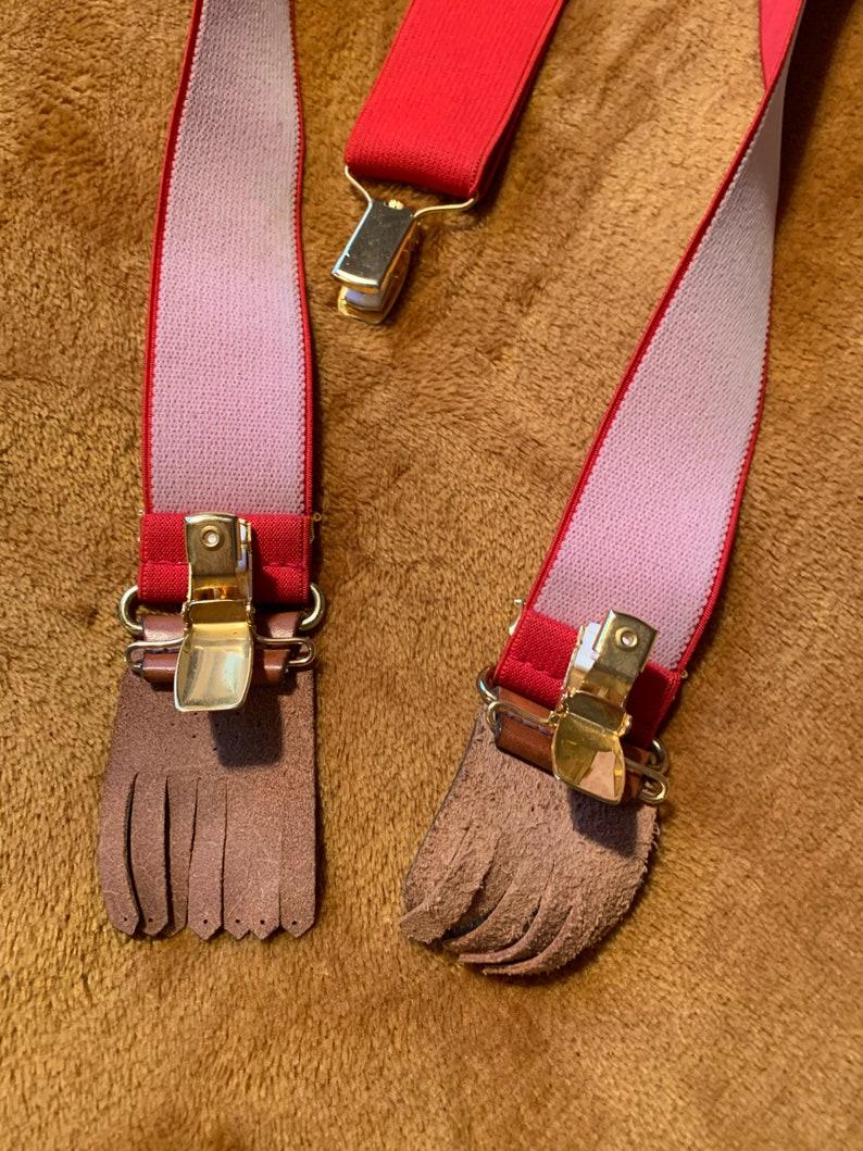Vintage Red Wide Elastic Suspenders Retro Braces Vintage Men/'s Accessories Gift for Him