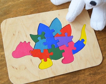 Dinosaur Wooden Puzzle, Animal Kids Puzzle, Wooden Toy, Baby Puzzle, Wood Zoo toy, Baby Gift, Dino party favors, Toddler toy, Jurassic world
