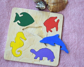 Ocean animals wooden puzzle, toy for baby, Montessori toddler toys, Sea themed, Organic toy, Baby shower gift, Kids Baby girl, Baby boy gift