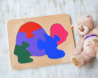 Turtle Wood puzzle Kids toy Ocean animals Montessori children educational Waldorf baby for autism toddler Travel puzzles Child development