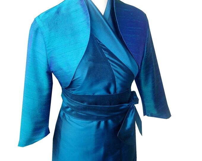 On Stock SALE 40% size MEDIUM Bolero Jacket Silk TEAL