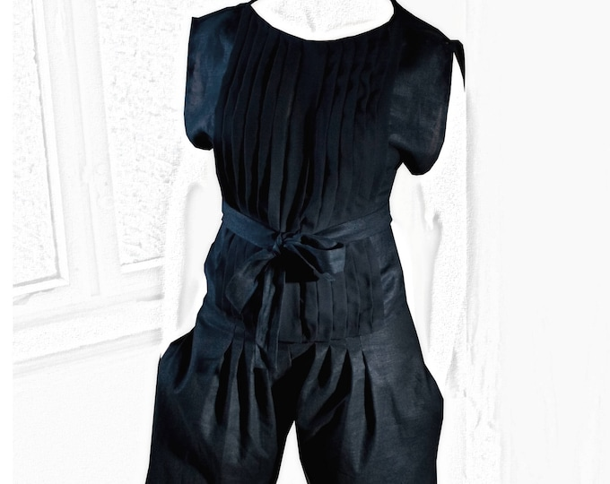 Outfit KARATEMARLENE ensemble of blouse and trousers made of linen chiffon in black