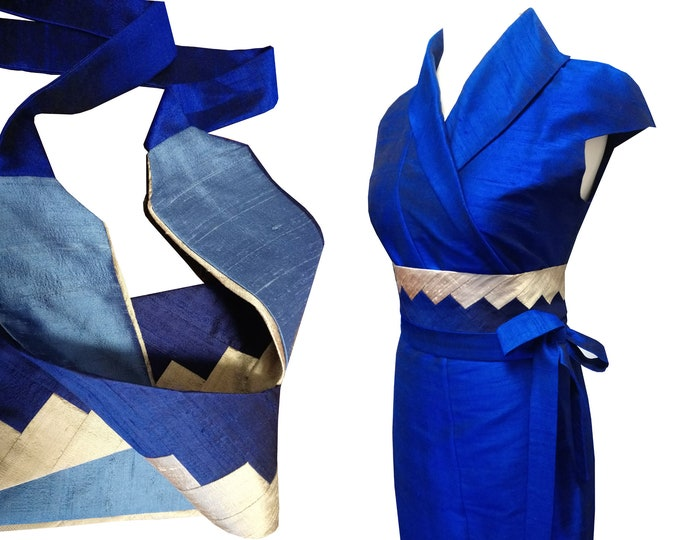 Obi belt sash INTARSIA silk shantung ROYAL MIX