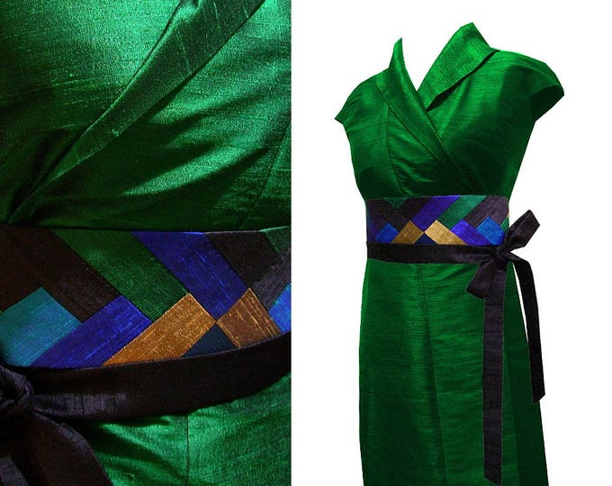 Kimono dress emerald Silk wrap dress Obi belt patchwork peacock feather
