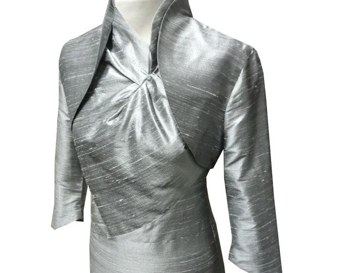 On Stock SALE 40% size small Bolero Jacket Silk bolero classic Bolero silver
