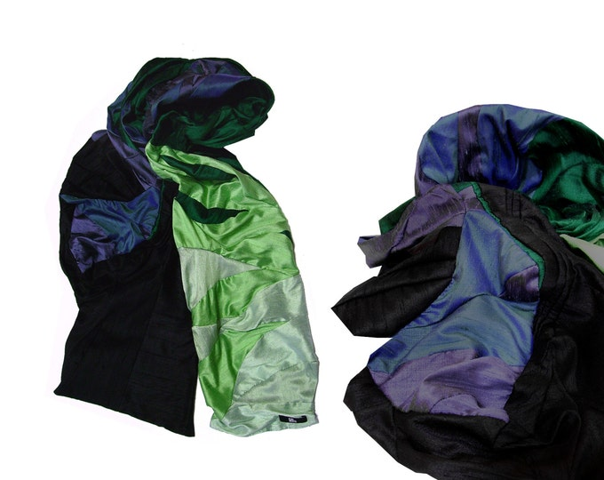 Shawl scarf silk black green gradient
