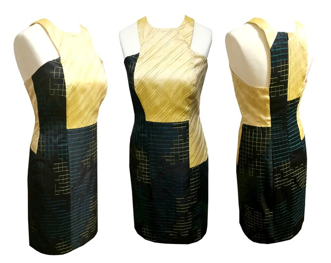 Tank Top dress shantung silk yellow black turquoise festive occasions
