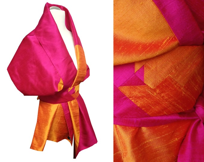 Silk stole with an Obibelt in Asian style  Block pattern HOTPINKORANGE