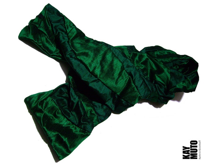 scarf shawl stole patchwork raw silk EMERALD BOTTLEGREEN Scarf Amorph upcycling