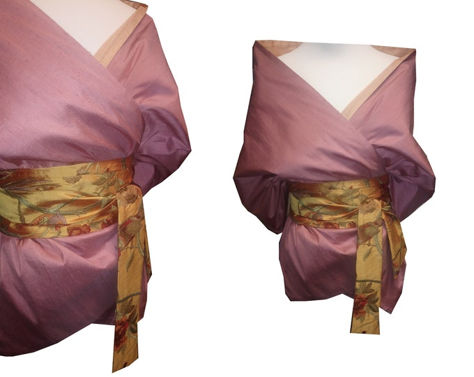 Silk stole with an Obibelt in Asian style  POWDERROSE BIRDY
