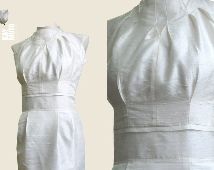 Silkdress Cocktaildress Origami pleats wedding dress kneelenght  brides maid made to order
