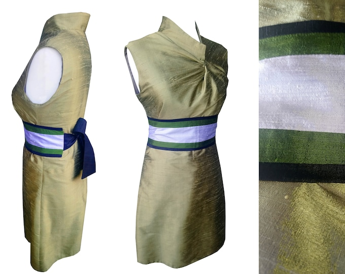 SALE 50% Asian style silk dress asymmetrical cut and stand up collar