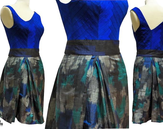 YOSEGI cocktail dress silk dress Ikat royal blue
