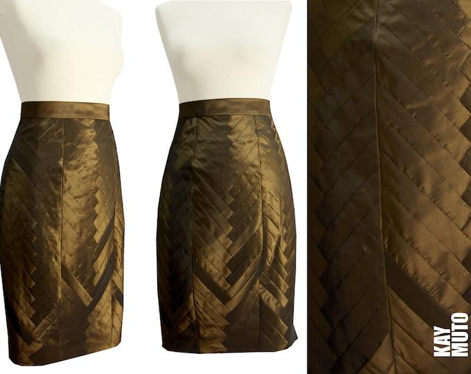 Sale 40% Figure-flattering pencil skirt brass