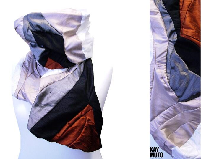 silkscarf  shawl stole patchwork: Scarf Amorph upcycling COPPERCHROME