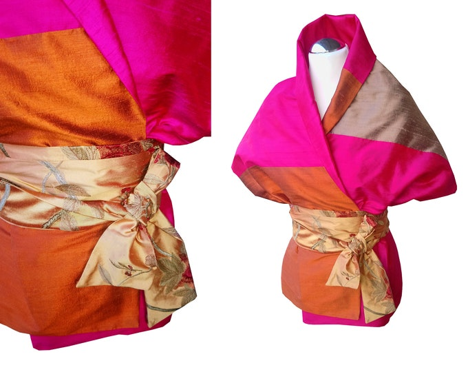 Silk stole with an Obibelt in Asian style  Block pattern INDIANMOOD