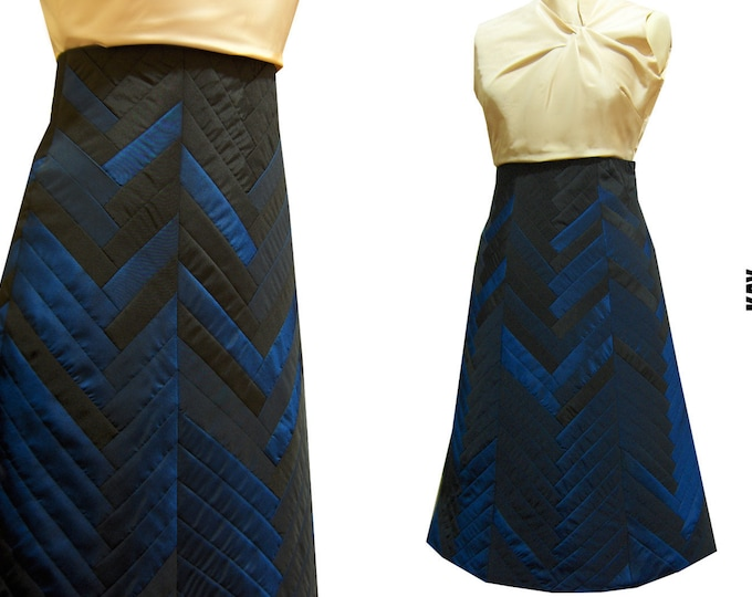 Unique piece size Large YOSEGI skirt: elegant taffeta skirt in blue and black patchwork technique