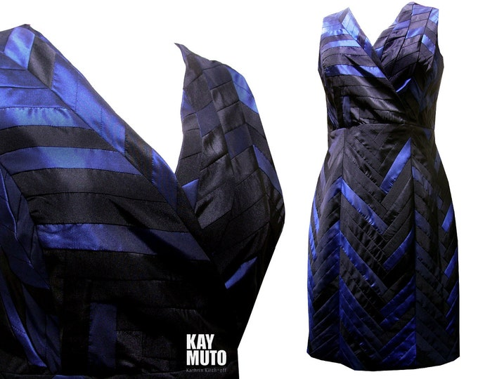 Yosegi ZEN tafetta shiftdress blue black patchwork Uique piece size XLarge