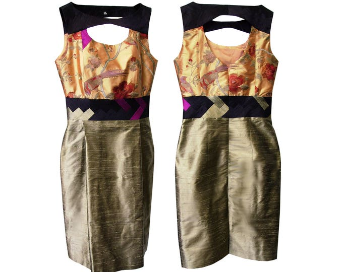Shiftdress silk embroidery LOST PARADISE apricot olive