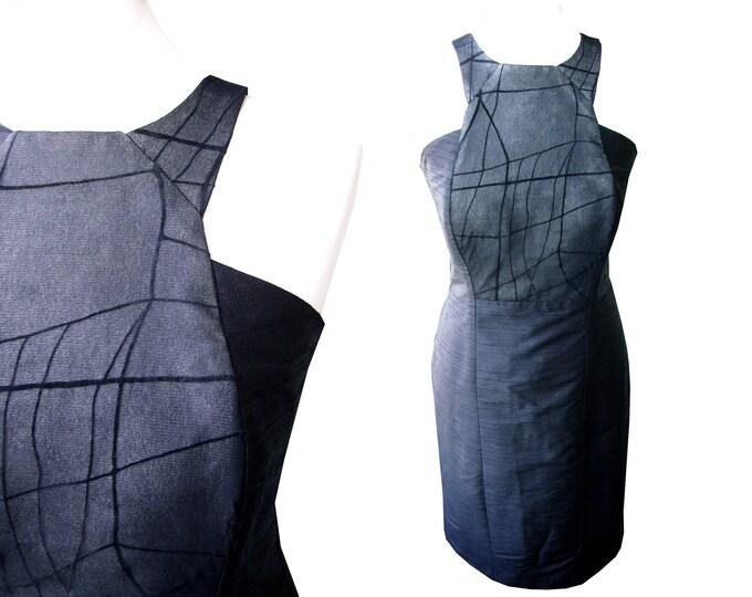 Tank Top dress shantung silk BLACK GRID patchwork