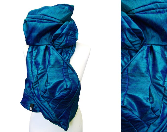 scarf shawl stole patchwork raw silk TEAL GREEN BLUE Scarf Amorph upcycling