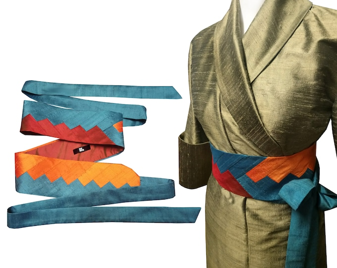 Obi belt sash INTARSIA silk shantung SUNSET MOOD