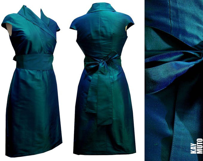 silk wrap dress in kimono style in PETROL evening dress brides maid dress green blue emerald
