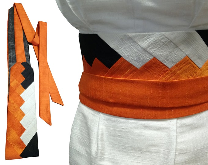 Obi belt sash INTARSIA silk shantung ORANGE GRAPHIC