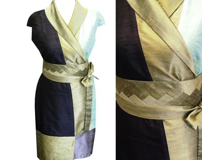 Silk kimono wrap dress Sashiko style black silvermeadow oliv gold taupe