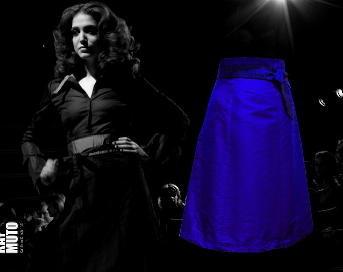 Silk skirt High waist skirt A- line skirt royalblue