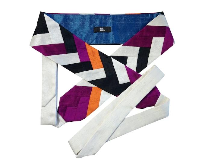 Obi belt sash intarsia silk shantung MONOCHROME ORANGE-BERRY
