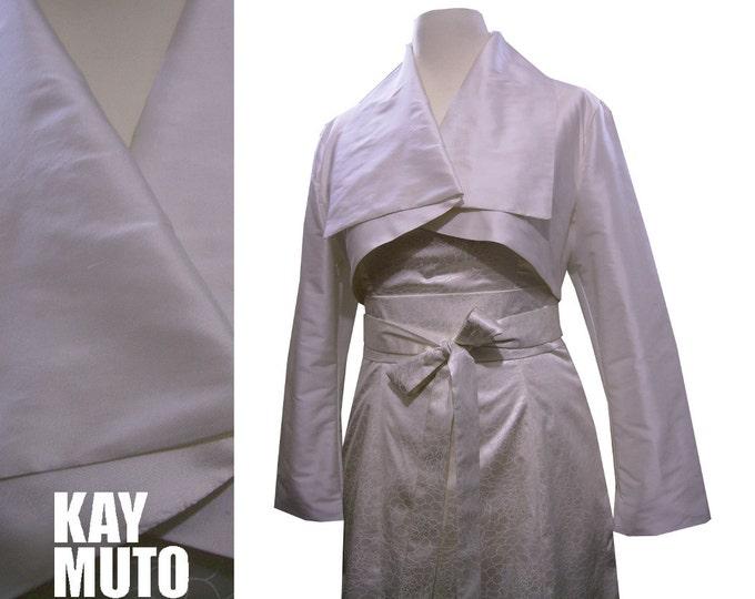White silk bolero in kimonostyle wedding jacket