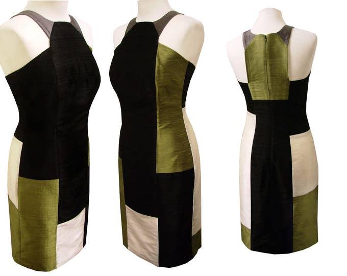 Tank Top dress shantung silk olive black champagne festive occasions
