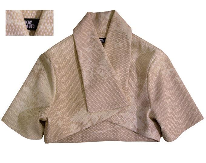 SALE 50% short kimono style jacket shaded pattern sandy colors soft feeling