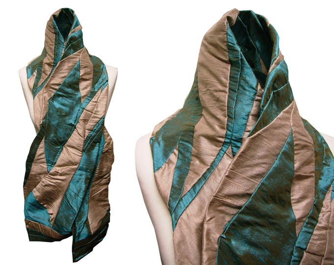 scarf shawl stole patchwork raw silk TURQUOISE SAND Scarf Amorph upcycling