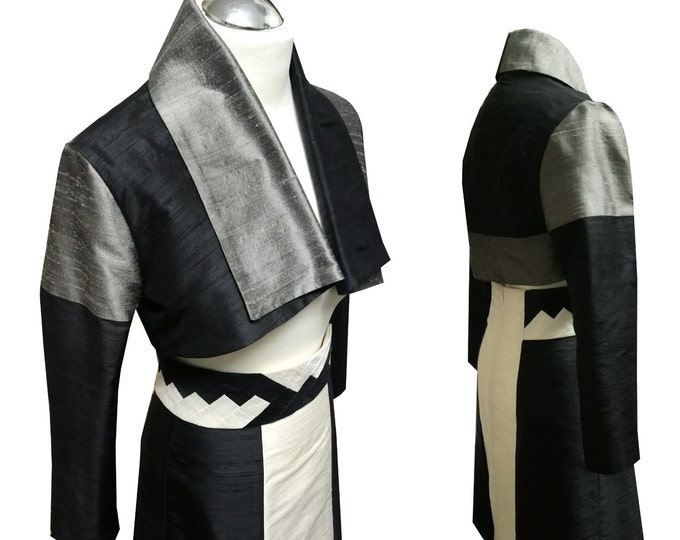 Jacket Silk bolero kimono style shawlcollar long sleeves Bolero black and white