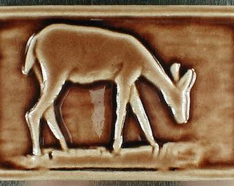 Deer tile, animal art, backsplash tile, wall hanging, relief tile, handmade tile, art tile