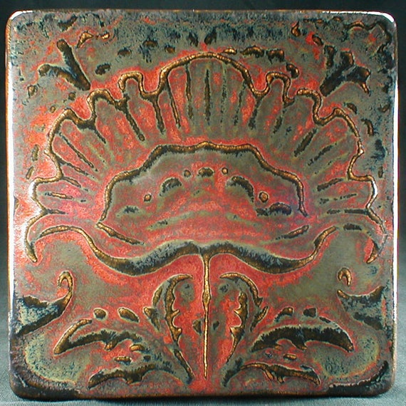 Red flower tile, ceramic tile, wall tiles, kitchen tiles, tile backsplash,  art tiles, kitchen backsplash tile, red fireplace tile, wall art