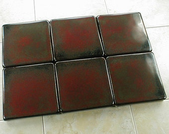 4x4 field tile sample with glossy red and black glaze,  4 x 4 fireplace ceramic art tile, kitchen backsplash handmade  tile