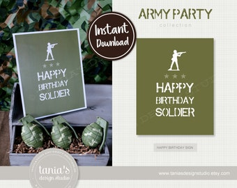Army - Toy Soldier - Happy Birthday Soldier Sign - Instant Download - by Tania's Design Studio