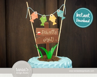 Gone Fishing - The Big One - Officially Eight - Ofishally Eight - Birthday Cake Topper - Instant Download - by Tania's Design Studio