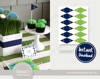 Golf Birthday Flag Cupcake Toppers - Hole in One Birthday - Instant Download - Golf Birthday Collection by Tania's Design Studio