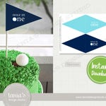 Golf Birthday Flag Cake Topper - Hole in One Birthday Cake - Instant Download - Golf Birthday Collection by Tania's Design Studio