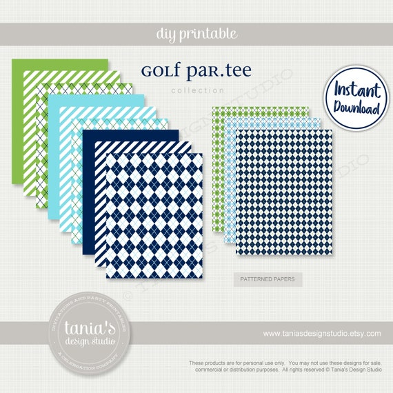 Golf Patterned Papers And Pinwheel Template Hole In One Etsy