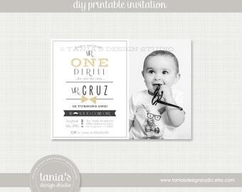 Mr. ONEderful Printable Photo Birthday Invitation by tania's design studio