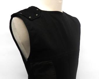 Industrial / rivethead  / futuristic / cyberpunk vegan friendly vest / tank top in black & brown, olive or green - Scout -